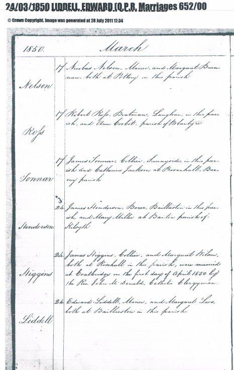 1850 Liddell -Lees wedding