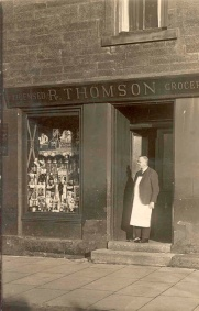 1948 Mr Thomson at his shop, Hunthill Rd (PV)