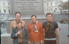1970s Hugh Craig on way to Wembley with Blantyre friends