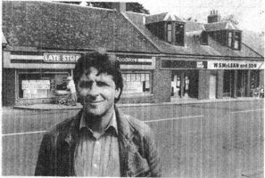Early 80s. Alistair mcLean at Main Street outside his newsagents