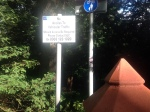 27th August 2014 Access sign at Greenhall entrance. Removed a day later