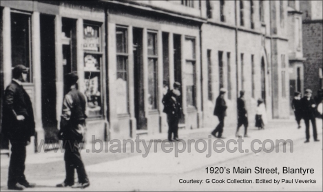 1920s Main Street HIgh Blantyre showing Adams Building1