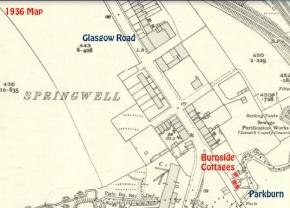 1936 Map showing Burnside Cottages at Parkburn