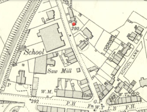 1910 Map High Blantyre. Red dot shows Lyons Laun