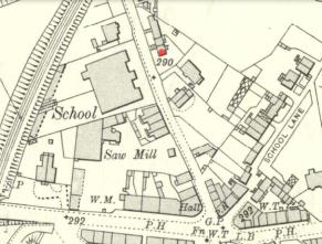 1910 Map High Blantyre. Red dot shows Lyons Laun