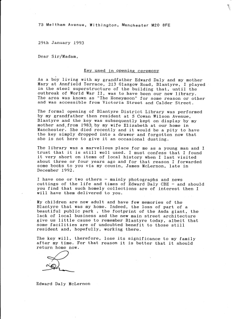 1993 Letter about Library key