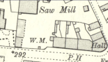 "1910 Adams Sawmill Map showing ""WM"", the Weighing Machine. Main Street."
