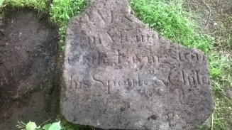 2015 June.Discovery of a Livingston gravestone laying near woodlands. (PV)