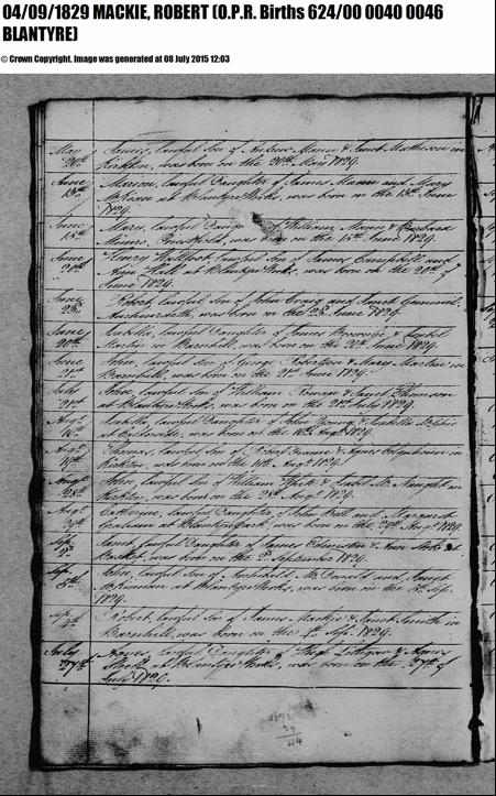 Robert Mackie birth record 1829