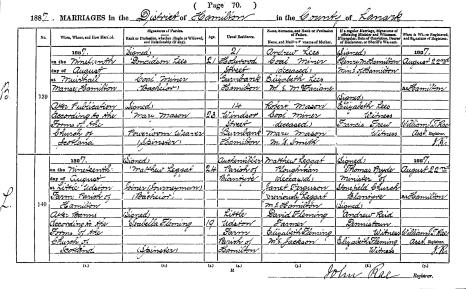 Marriage 1887 Matthew Leggat and Isabella Fleming