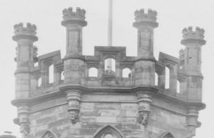 1910 Ornate heads of Calderwood Castle