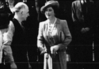 1942 June. William Mains chats to Queen Elizabeth at Miners Welfare Bowling. Original Photo shared by N Mains.