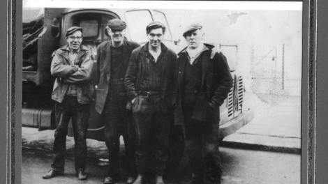 1950s Davie Cook coalman 1 arm Jackie Turner right, Prentice in photo too by Dvid Cook